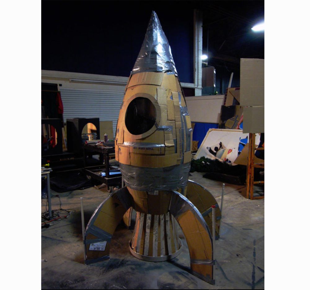 Rocket Ship made of duct tape and cardboard.