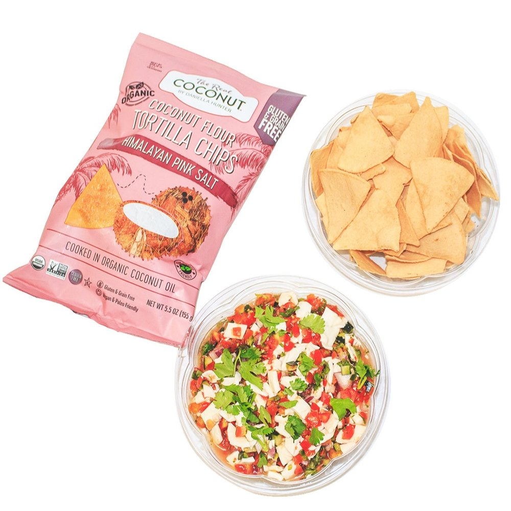 Coconut Ceviche + The Real Coconut Tortilla Chips - $35(Feeds 10 people)