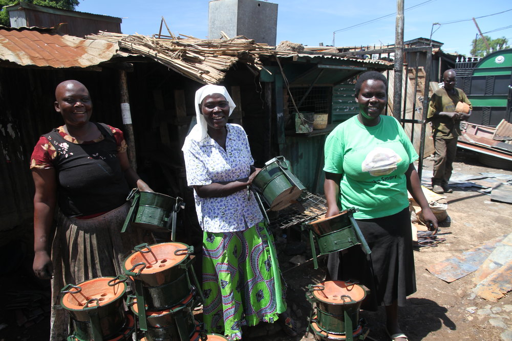 Yunita with Eunice and Jeniffer, other stove entrepreneurs