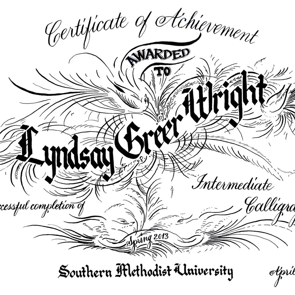 intermediate calligraphy certificate