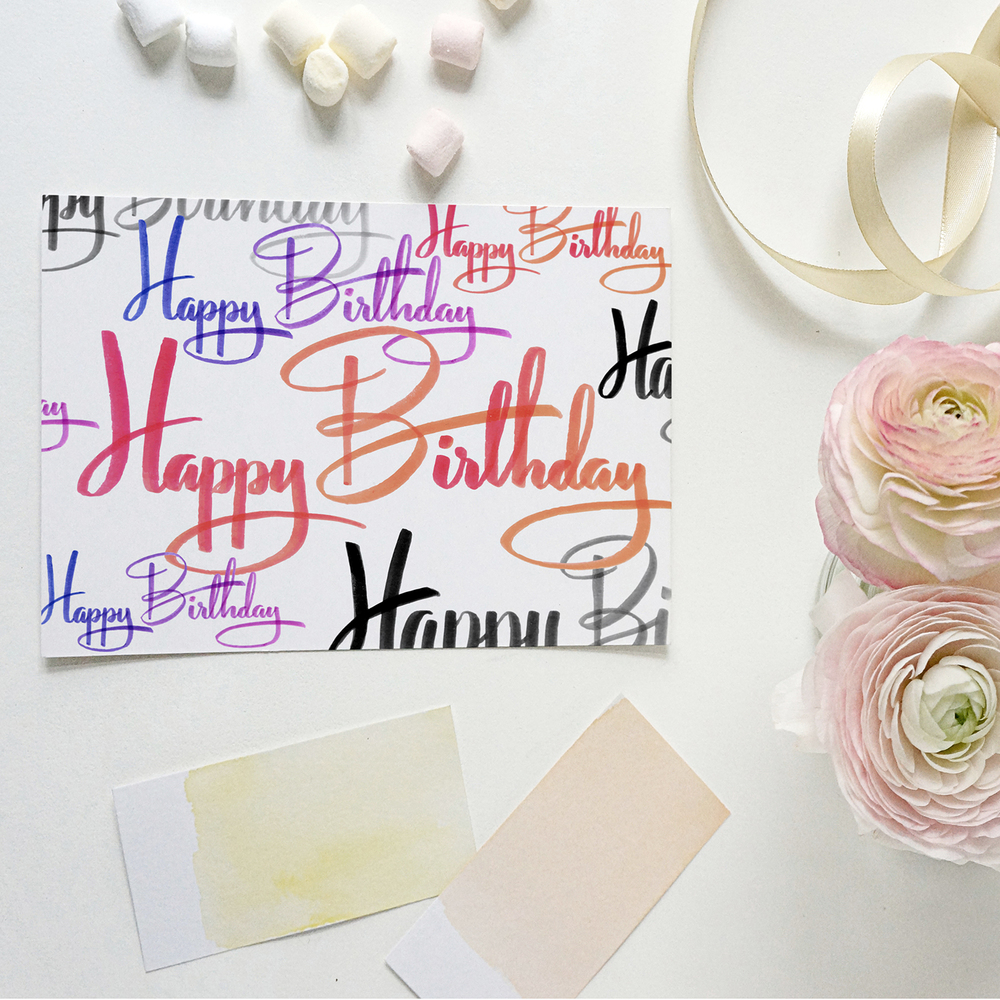 CRD00031A7MIA01 Calligraphy Hand Lettered Happy Birthday Greeting Card