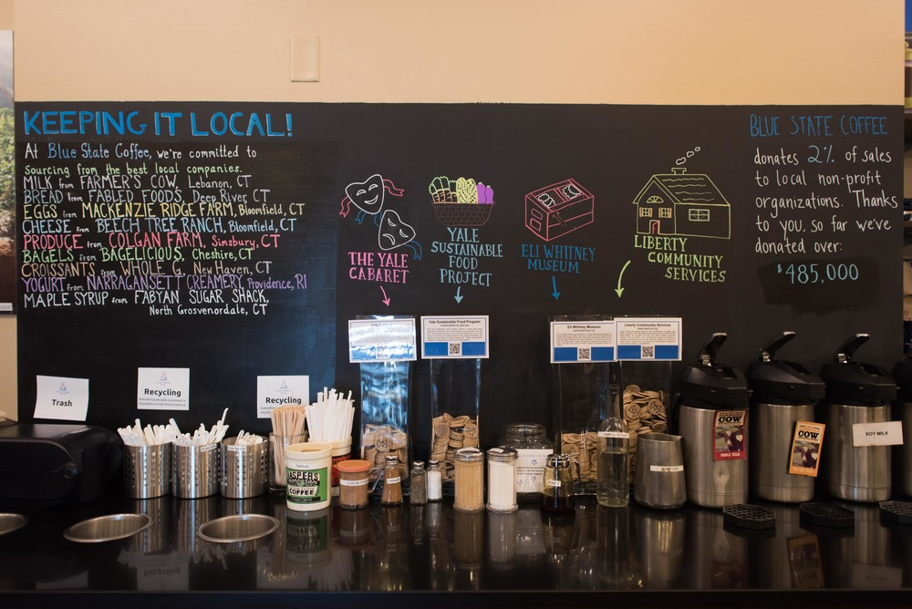 Blue State sources locally and contributes 2% of sales to local not-for-profits
