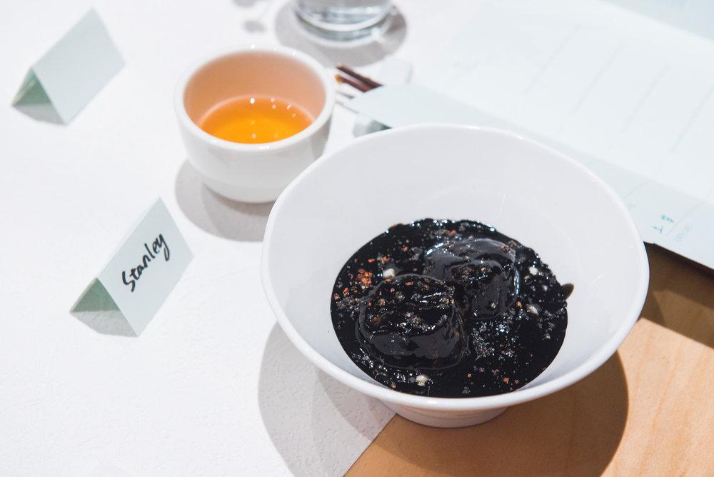 sea scallop, job's tears, black sesame, black goji