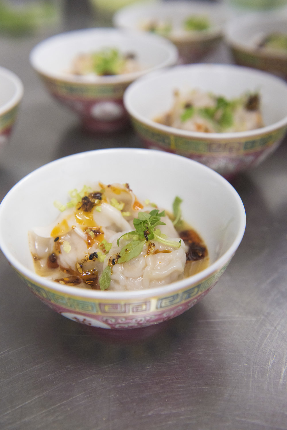 Chicken dumplings with sprouting ginger, vermicelli, sichuan peppercorn
