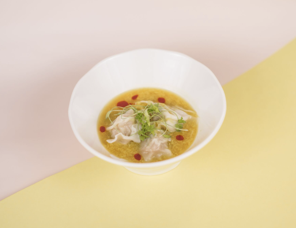2nd course: wonton egg drop soup with 5-year ginkgo 'hyo' vinegar, chicken wonton, chinese celery