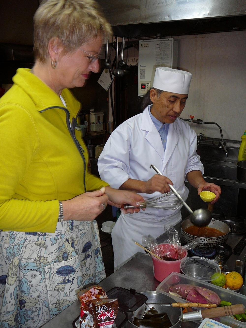 ALufthansacrew memberand I making miso soup