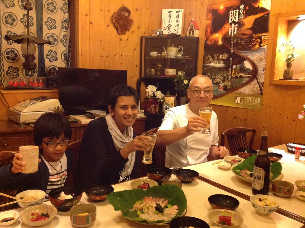 Chef Benoit, his wife Ema and son Dwiji toasting to our own produces of kaiseki dinner he and Chef Shuji cooked.