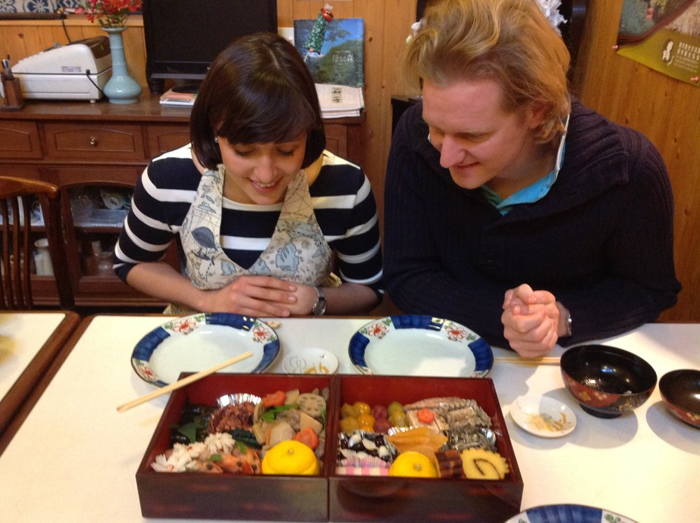 "We had a great 1st January with soup, 24 different specialties, "" BleigieBen "", tea and mirin. Hopefully we can come back soon!!  Arigato,                  1st January 2014   Lufthansa Captain Thies and his partner/cabin crew Tine"