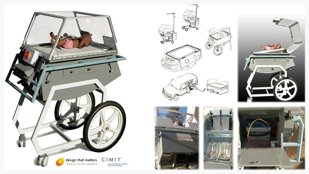 Toyota truck parts are used in this neonatal care unit. Patient access, transportability, durability and easy maintenance are the major design directives. The incubator uses sealed-beam head lights as a heat source, a cabin fan assembly for air flow and temperature control, and a motorcycle battery/cigarette lighter adaptor for power supply and back-up.