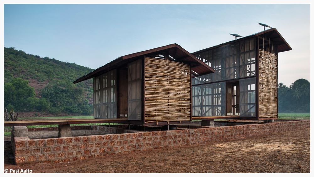 A sustainable, affordable and replicable home model. Working alongside Rintala Eggertsson Architects, the model homes were   built using locally produced materials, featuring a solar panel roof to provide electricity and a biogas toilet system, which produces gas for cooking and fertilizer for growing food.