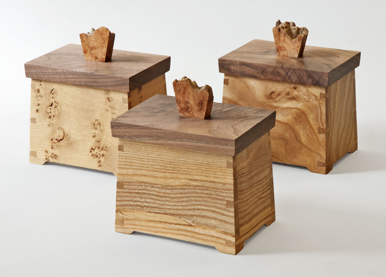 Handmade Tea Caddies L to R: Pippy Oak, Olive Ash and Elm all with Walnut lids and burr elm handles.