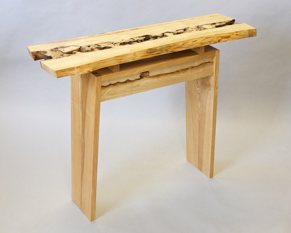 Ash console table with a one-in-a-million inosculated wood top