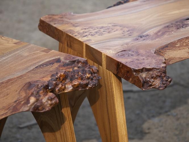 Dovetail leg details in Burr Elm table top