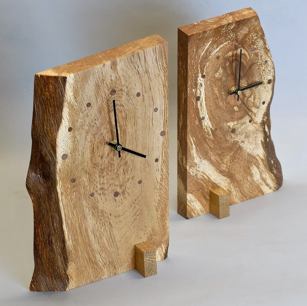 Natural Edge Mantle Clocks