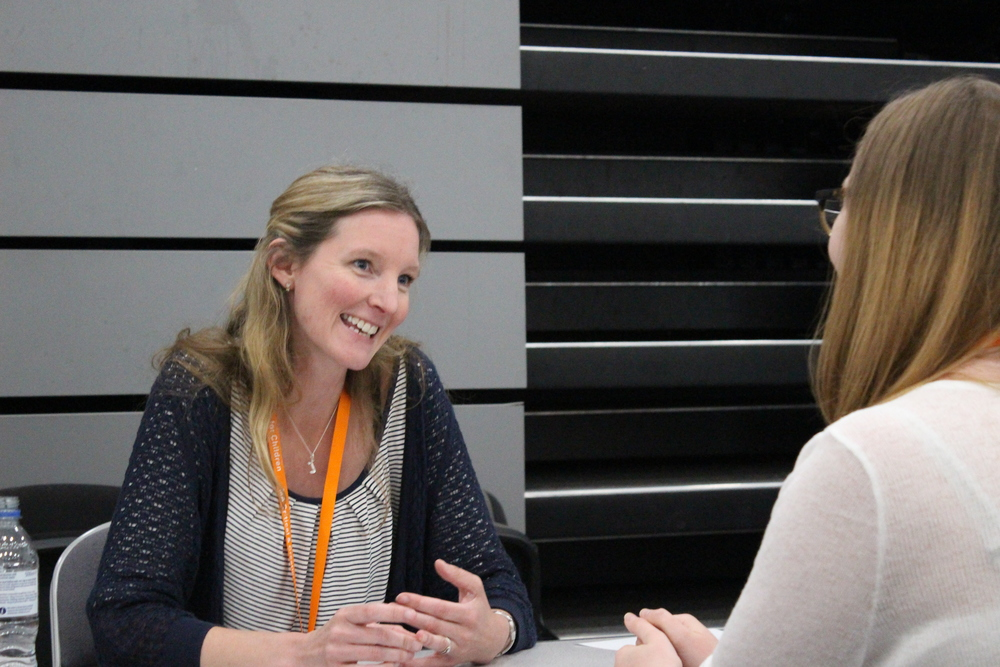 Joanna engaged in a one-to-one feedback session at this year's Winchester Writers' Festival