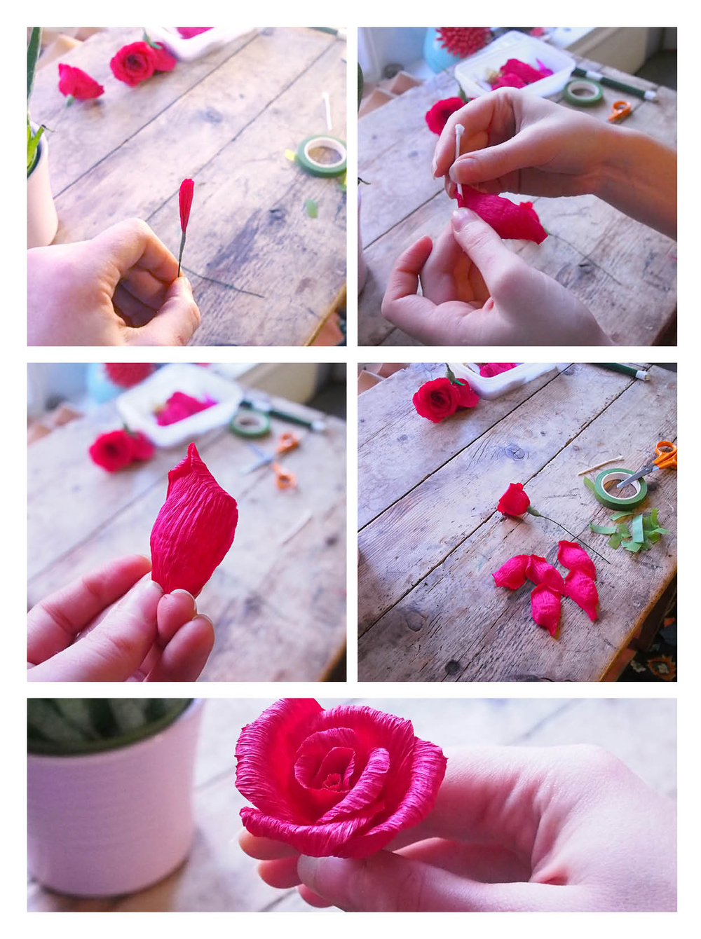 Illustrationcrepe paper holiday wreath tutorial sarah dennissarah using provided templates cut five small five medium and five large petals for each rose from red crepe paper i have found five of each size to be a nice mightylinksfo