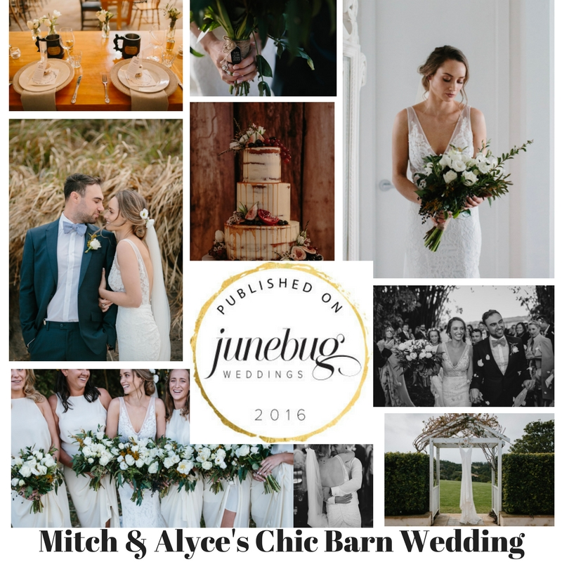 Click image to visit Junebug Weddings Blog - Chic Barn Wedding.