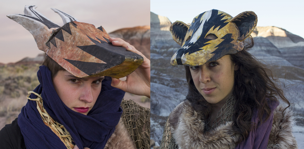 Petrified Forest Park Rangers Katie Woods and Sevilla Soto generously modeled my masks for me in the Park.