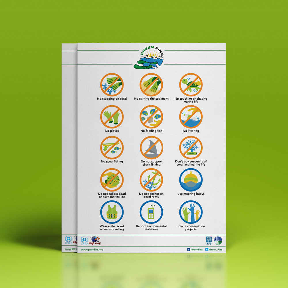 The Green Fins Icons — you can find these in all Green Fins accredited dive shops and business operations. They are the most basic guidelines for environmentally sound diving and snorkeling practices.