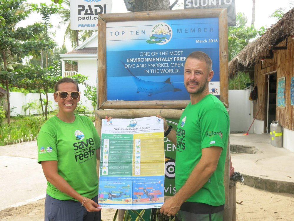 The Code of Conducts and other materials in use at newly accredited Green Fins resorts in the Philippines.  (Photos via the Green Fins website)