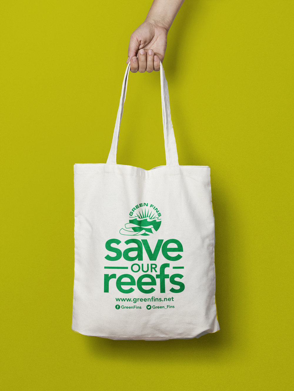 The Green Fins tote bag.