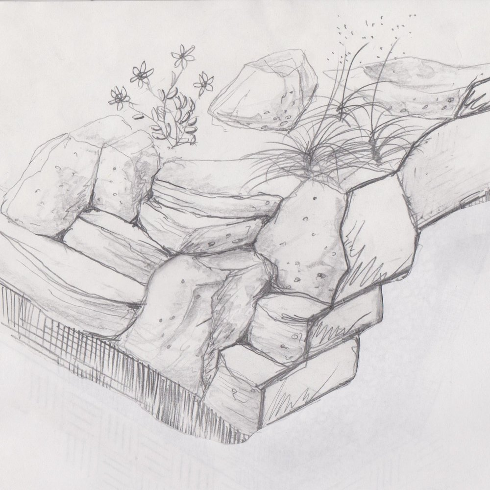 Outcrop Retaining Wall Sketch
