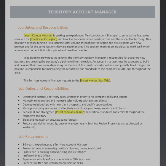Territory Account Manager Job Description Template  Account Manager Job Description