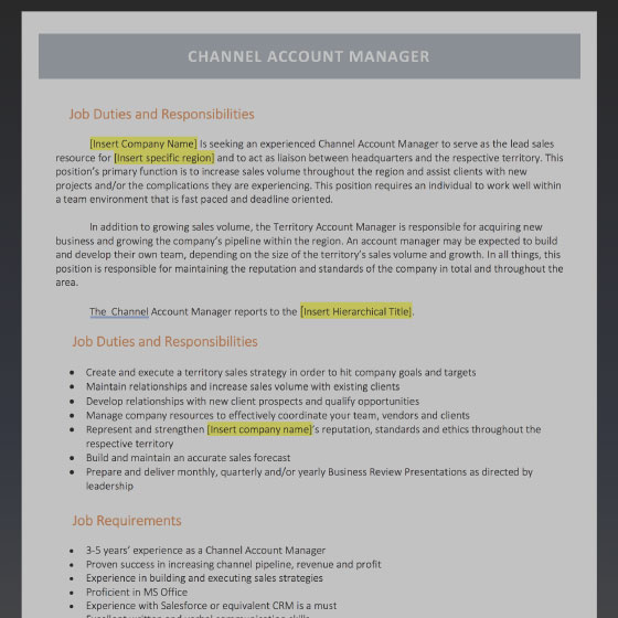 Channel Account Manager Job Description Template  Account Manager Job Description