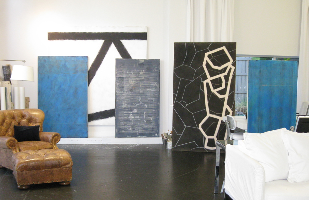 Home/Studio Gallery set-up for invited guests to see new works by Gwyn Zesch in Ybor City. Pop up Galleries can temporarily occupy an unclaimed corner, an empty house, an available wall or extra room. Creating the space is all about selection and presentation in limited time. Below (l to r), glimpses of pop-up exhibits organized by ArtHouse3 - Tampa's Spa Jardin on left, a weekend gallery in empty home for sale, and a temporary folk art gift shop/gallery for the Museum of Fine Arts in St. Pete. Let us know if you have a space where art would especially shine for a short while.