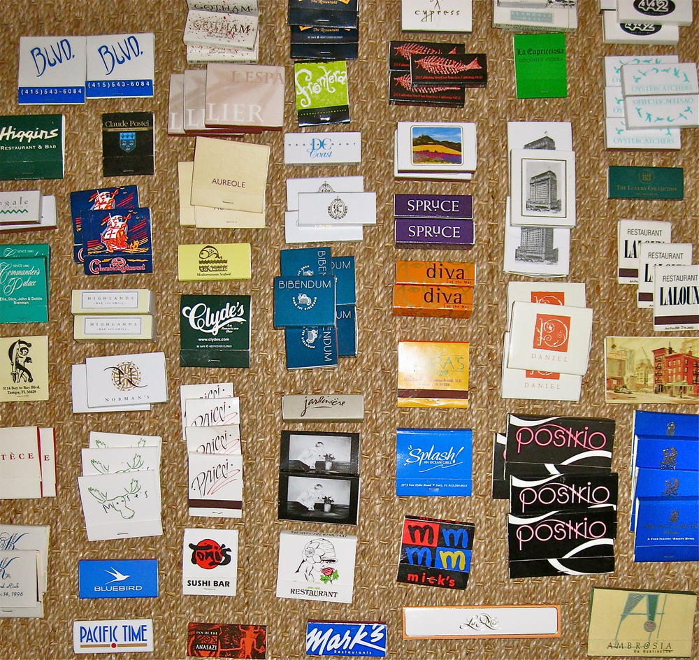 Portion of matchbooks, from the collection of Bob Smith. Final project resulted in framed display of over 600 matches!
