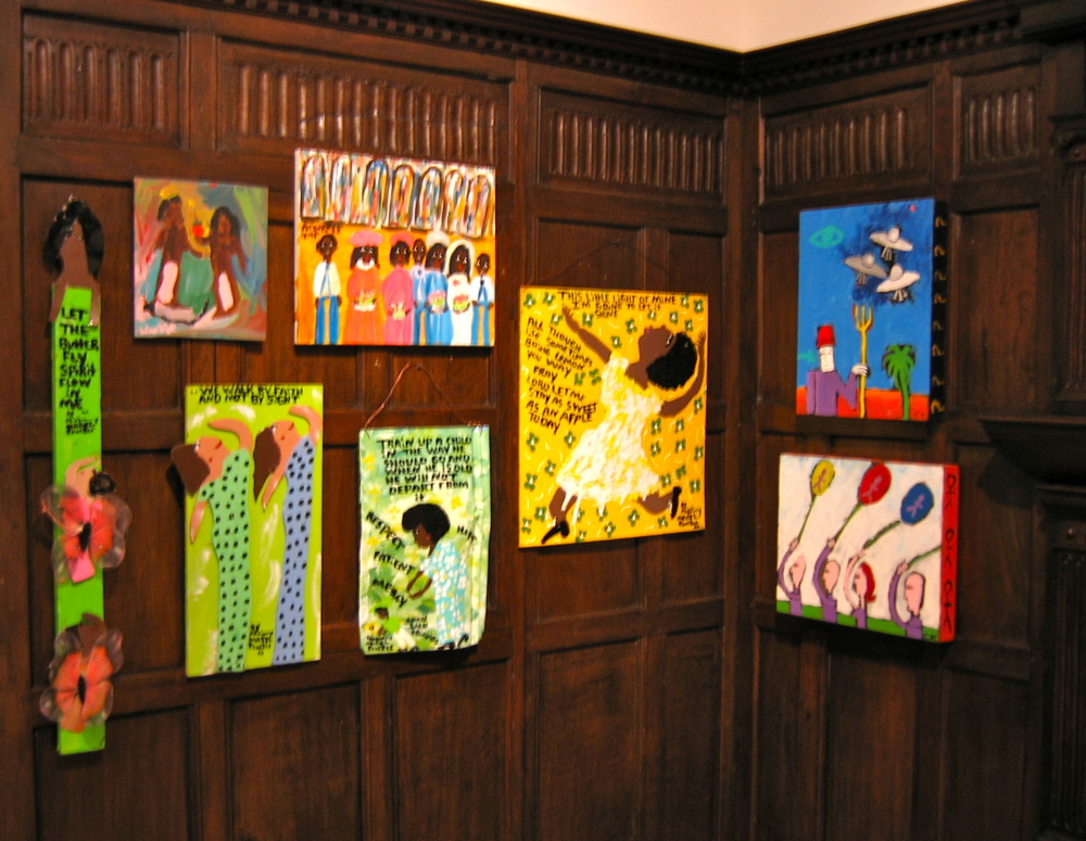 Woodie Long (top left); Alyne Harris (to right); Mary Proctor (four next to and underneath); Carl Knickerbocker (rt wall); w/Jeanine Taylor Folk Art for Museum of Fine Arts in St. Pete.