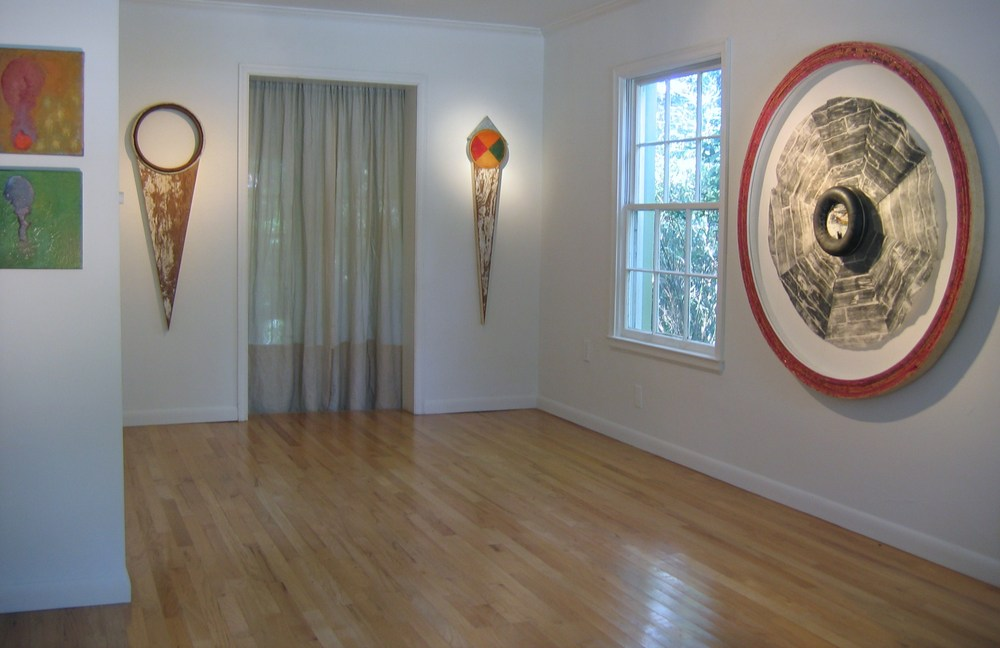 Kendra Frorup (far right), Charles Parkhill (two wall pieces in middle) and Hercules Horowitz (on left) exhibiting @3rd Thursday hosted by ArtHouse3 on Barcelona.