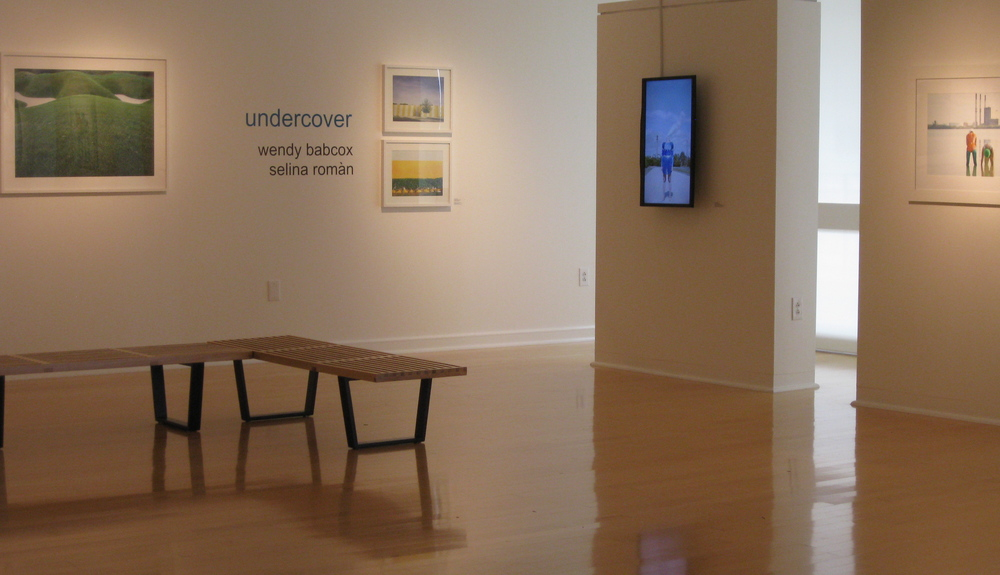 Photographers Wendy Babcox (three images on left) and Selina Roman (screen image and image far right) in undercover, exhibited in Gallery 221@HCC.