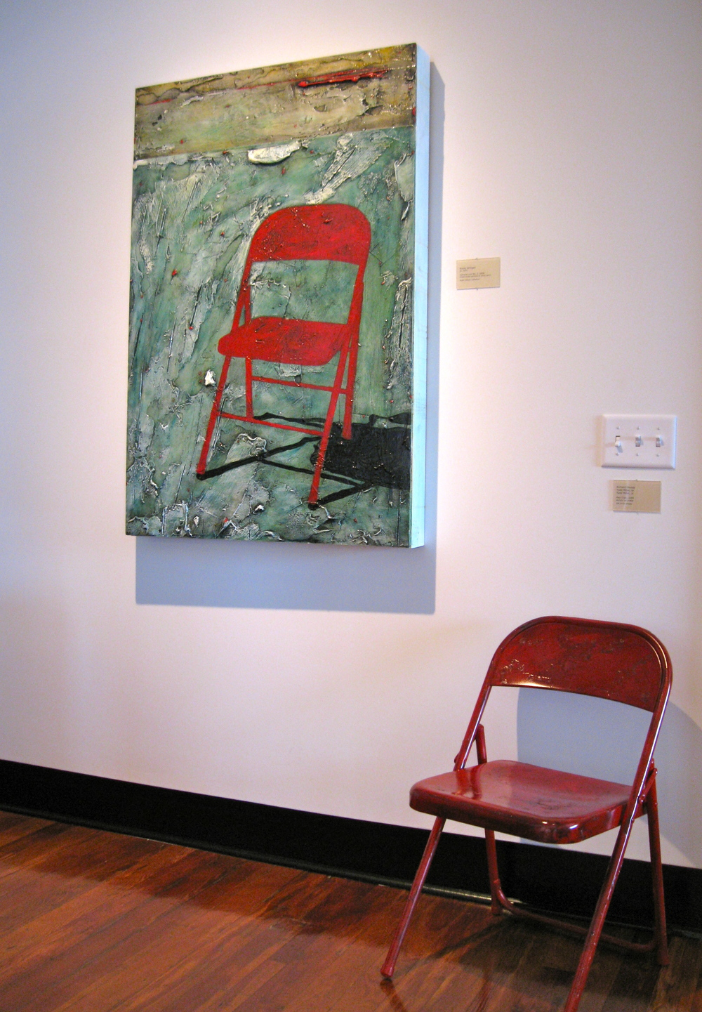 "Rocky Bridges, mixed media wall piece, ""Horizon Line No. 2"";  Mixed media floor piece, ""Red Chair"", Richard Woods, Todd Miller, Sr., Todd Miller, Jr."