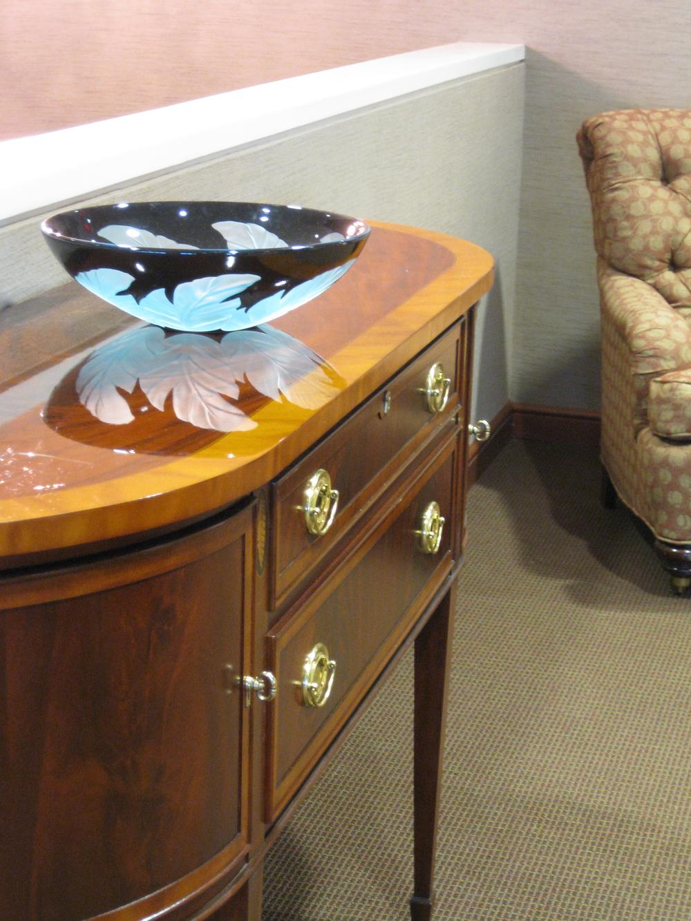 "Duncan McClellen, ""Teal Leaf Palm"", hand blown glass bowl"