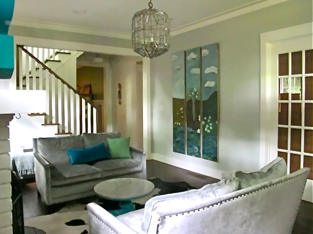 Atlanta client living room  after  Arthouse3 rotated different art in, from client collection,  and moved a few other pieces around to freshen the area. (Before shot on left.)