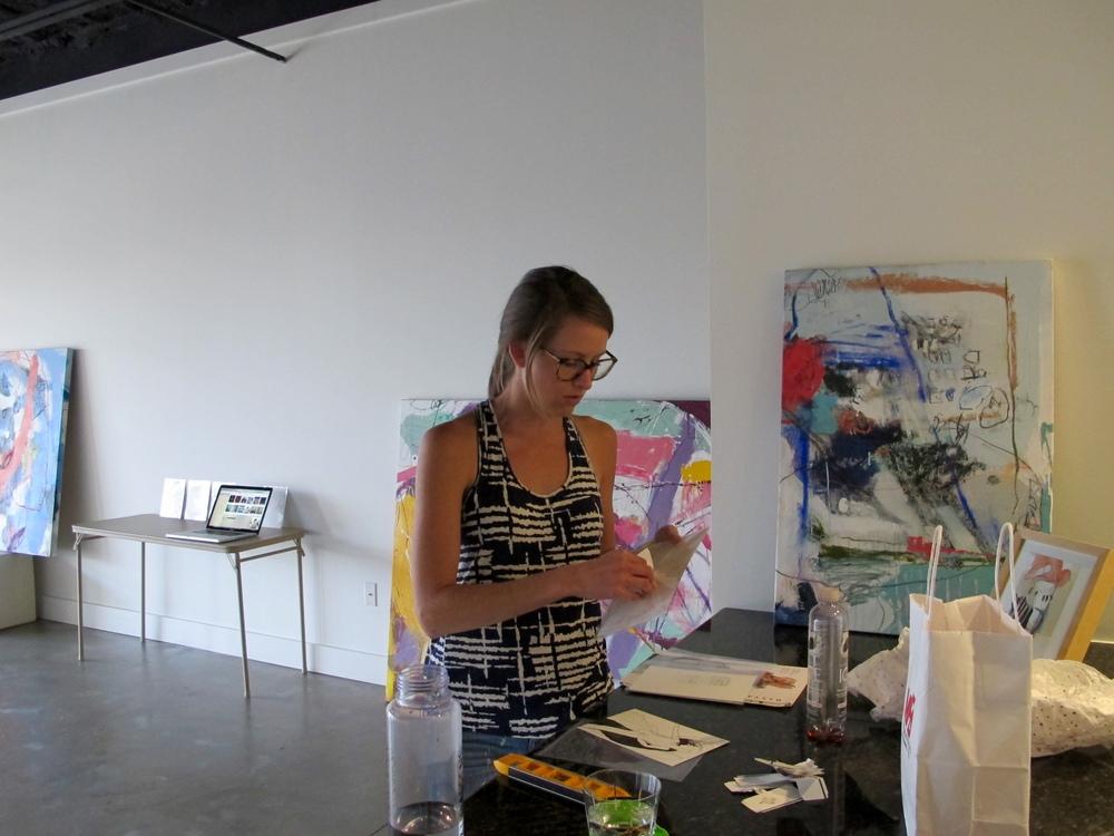 Artist Taylor O. Thomas in installation mode.