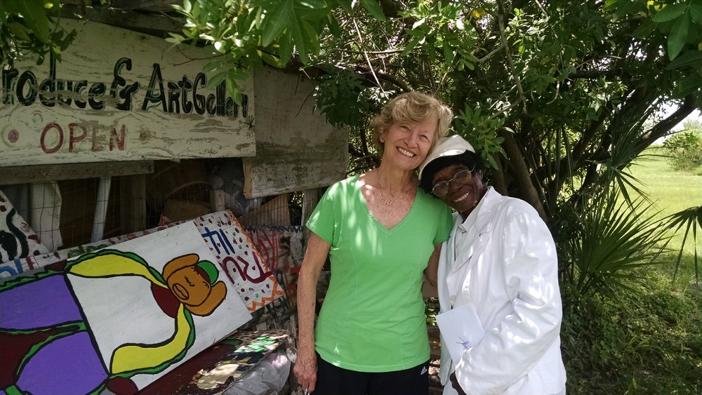 """Arthouse3 Ambassador Jean Gibson with Arthouse3 Favorite Ruby C. Williams, returning work from summer exhibit """"Orange State"""""""