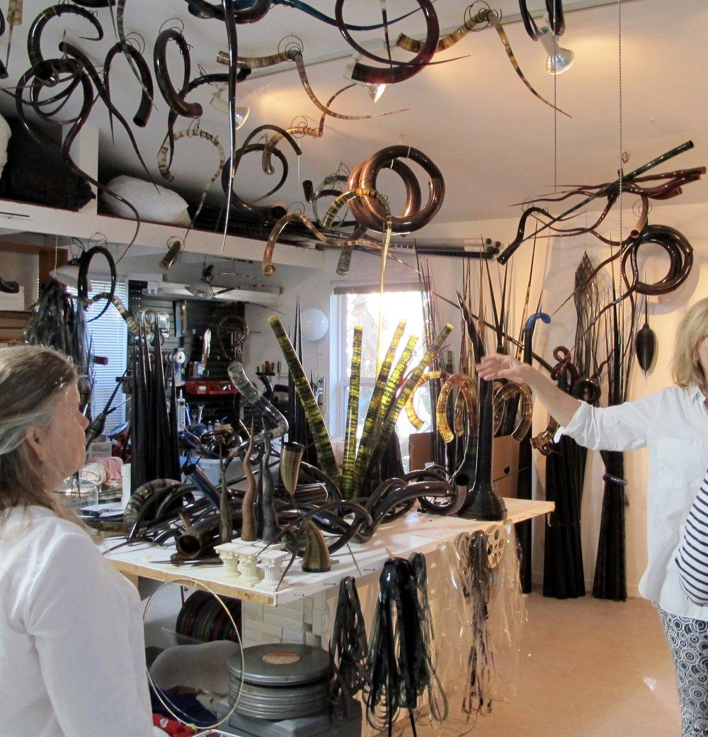 Clients visiting Nancy Cervenka in her magical workshop