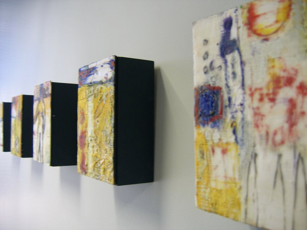 Donne Bitner encaustic blocks selected for client lobby