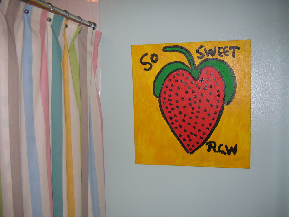 Ruby C. Williams strawberry sweetening up a powder room