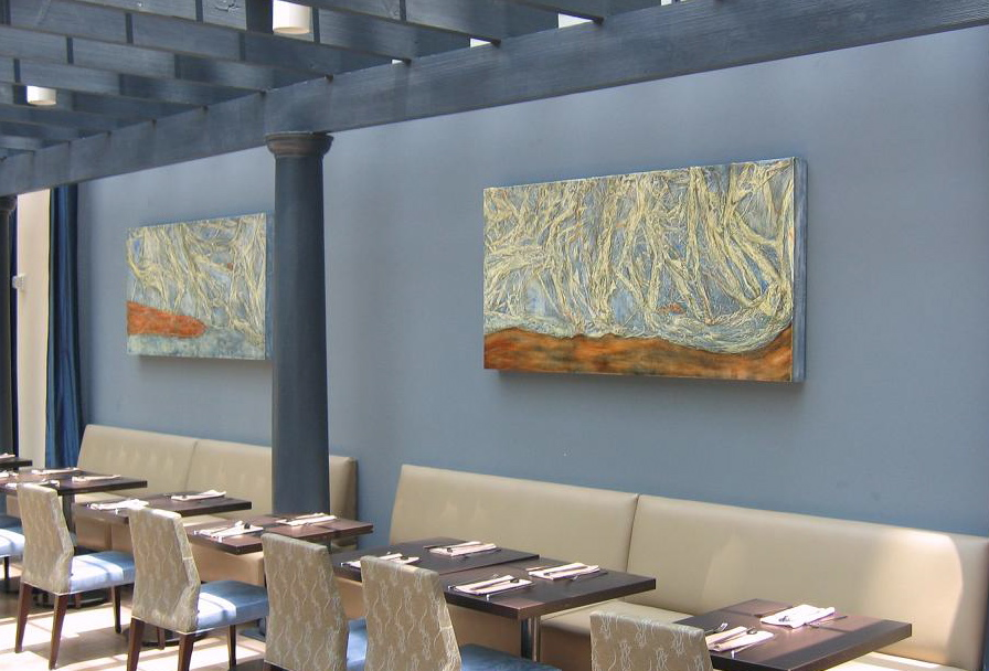 Commissioned pair of mixed media pieces by David Briand for SORA Restaurant in Kissimmee