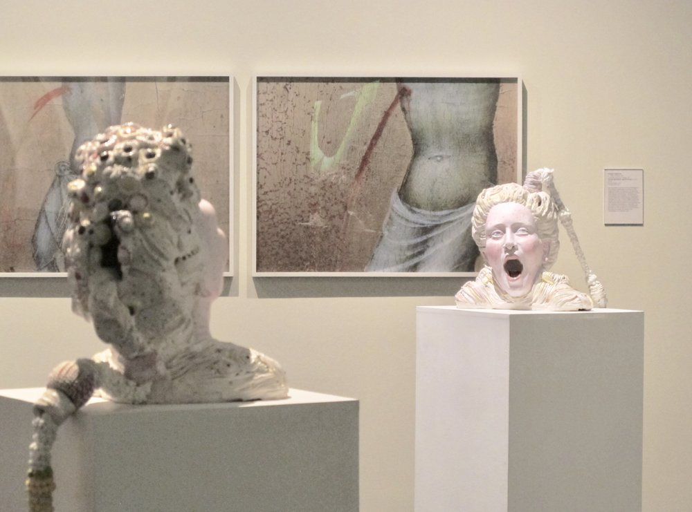 Ceramic sculpture by  Chasity Williams , in view of paintings by  Wendy Babcox , Museum of Fine Arts  Skyway  exhibit.