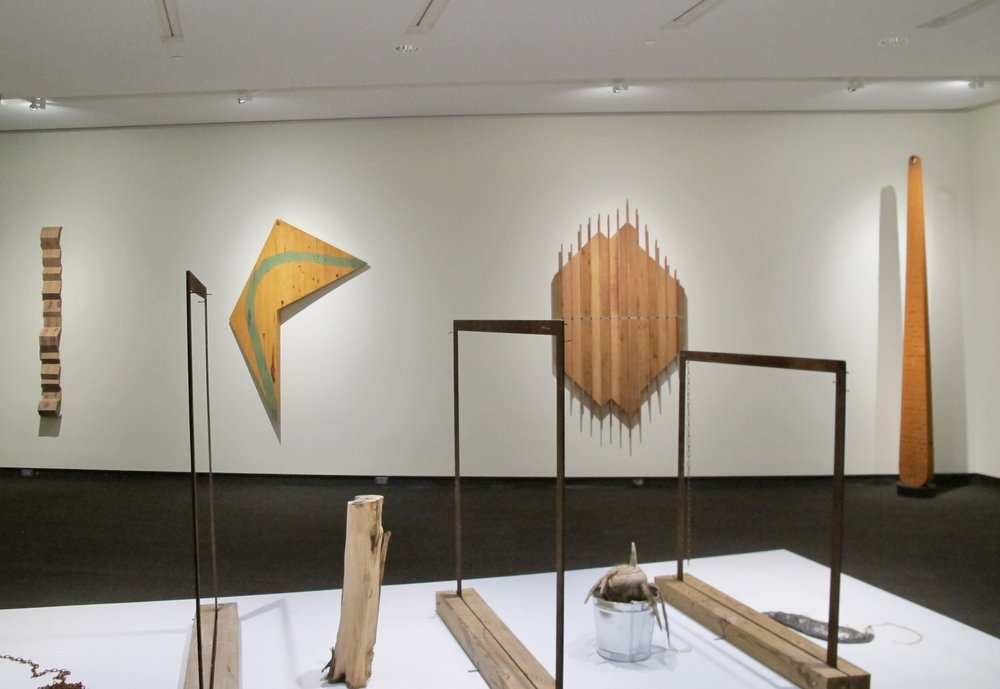 MFA | Charles Parkhill, back wall; foreground, partial view of installation by Babs Reingold