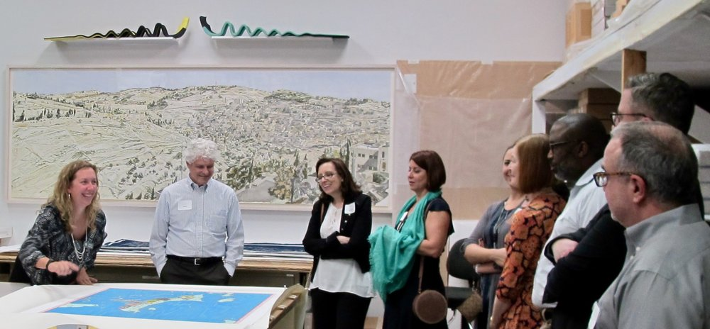 Shumaker Loop & Kendrick Art Committee members and friends touring Graphicstudio