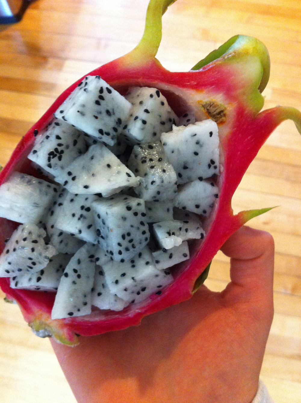 Finally got to try dragonfruit. YUM. It was definitely unique...reminiscent of kiwi but much more mild and refreshing. Especially good with yogurt.