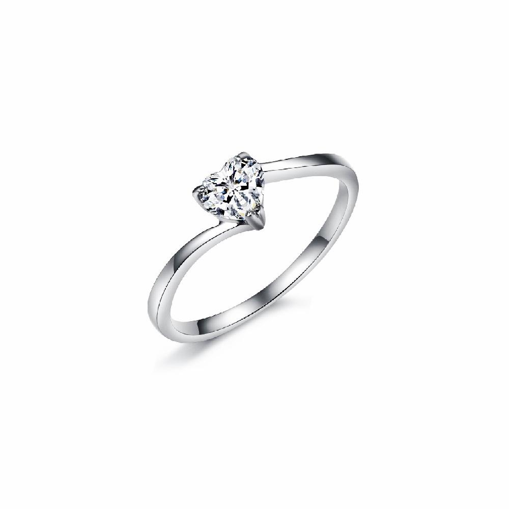 Heart Shaped Diamond Swirl Engagement Ring