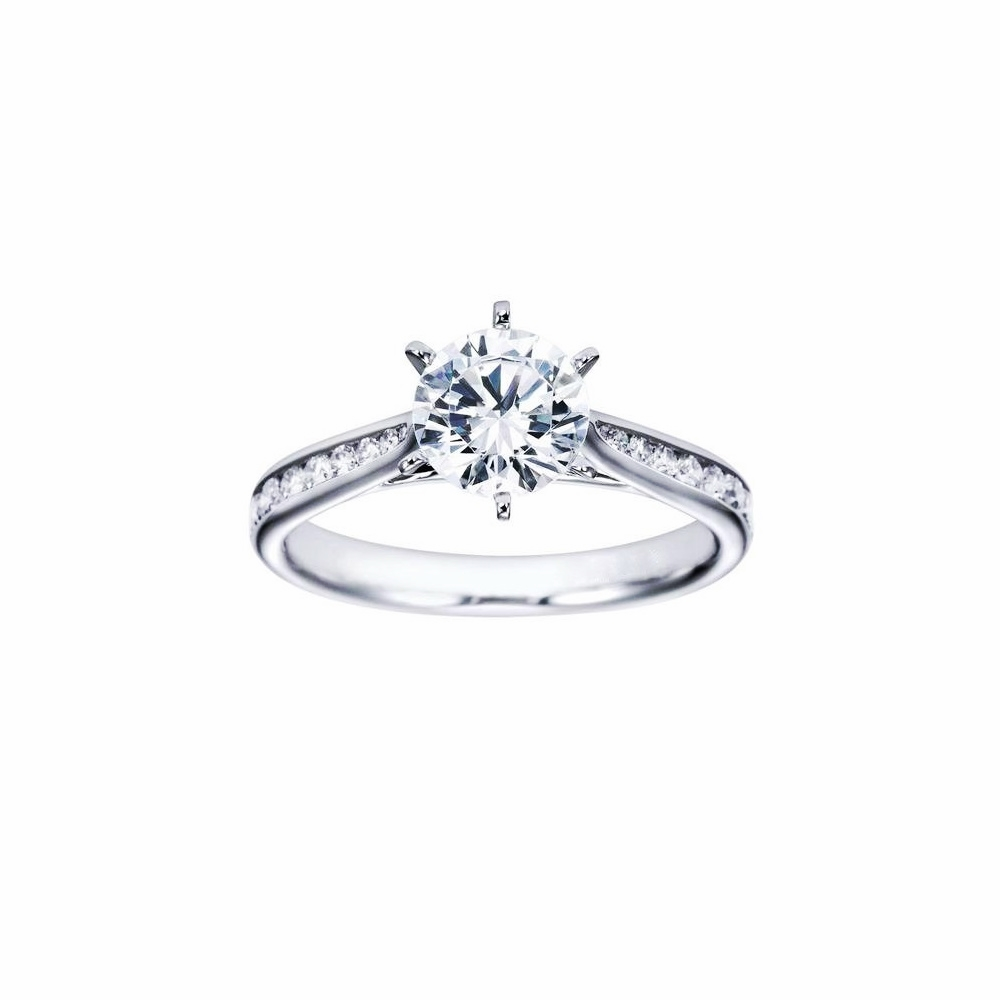 6prong Round Brilliant Solitaire Engagement Ring In Cathedral Style  Channel Setting