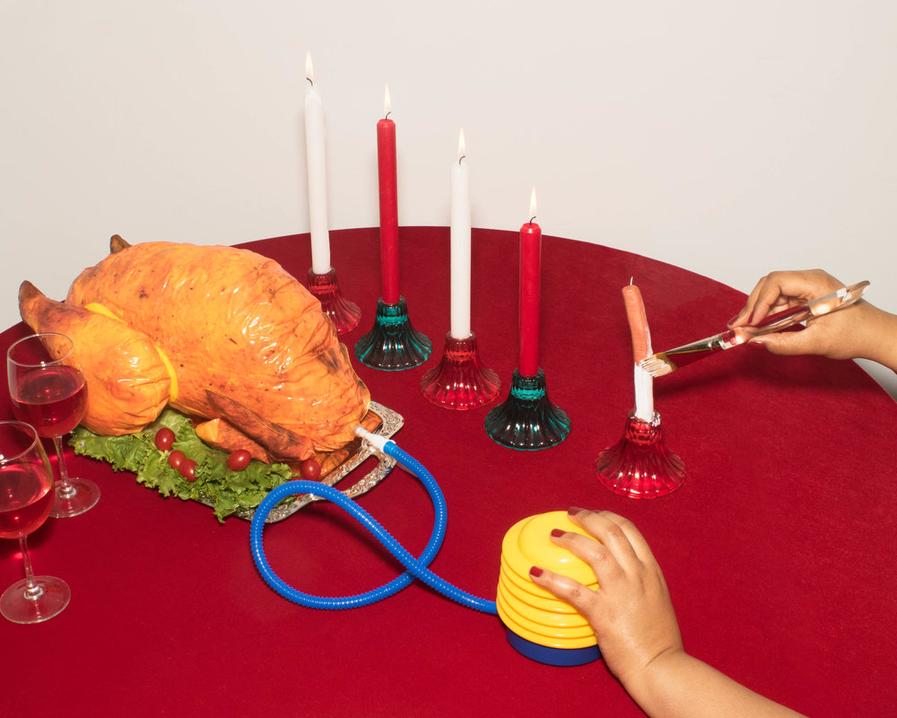 Prank Turkey Dinner with fake candles