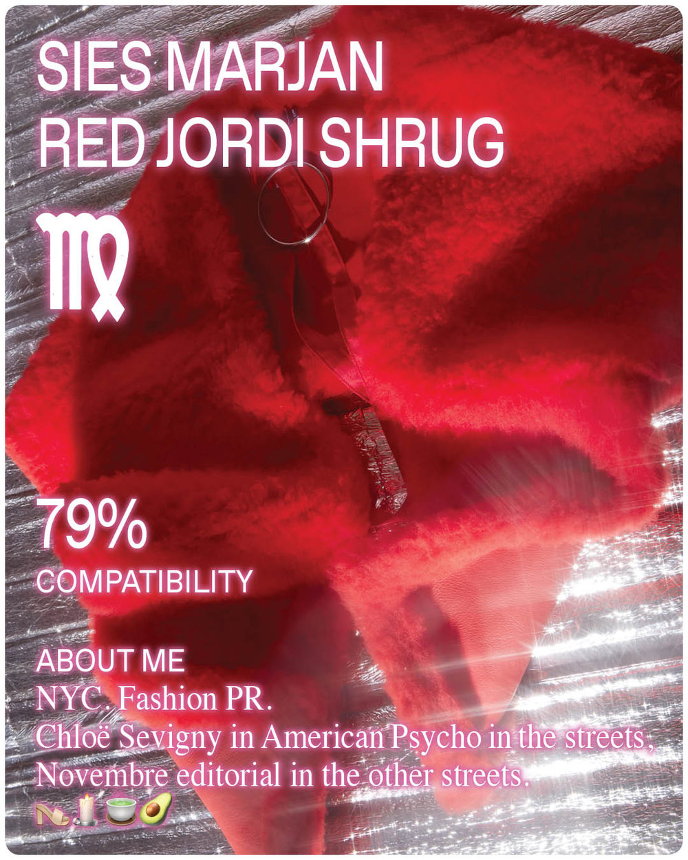 Red Shrug by Sies Marjan on Silver Background